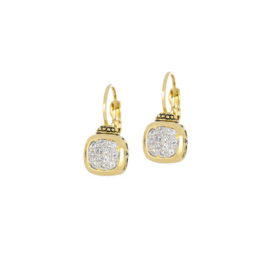 Nouveau 8x8 Cushion Pavé Gold French Wire Earrings