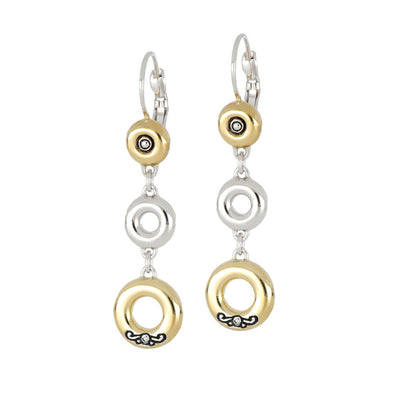 Ciclo D'Amor Large Two Tone Triple Drop Dangle Earrings