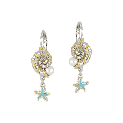 Caraíba Collection White Pearl Nautilus & Starfish French Wire Earrings