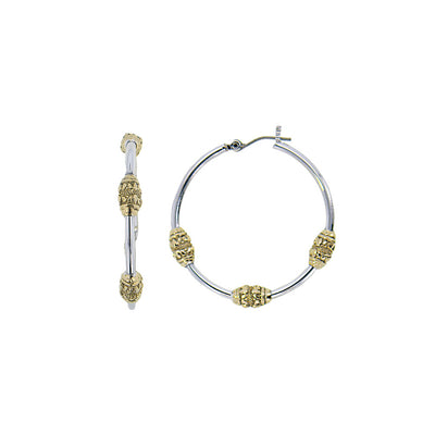 Beaded Two Tone Tri-Bead Hoop Earrings