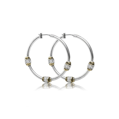 Beaded Pavé Triple Bead Hoop Earrings - John Medeiros Jewelry Collections