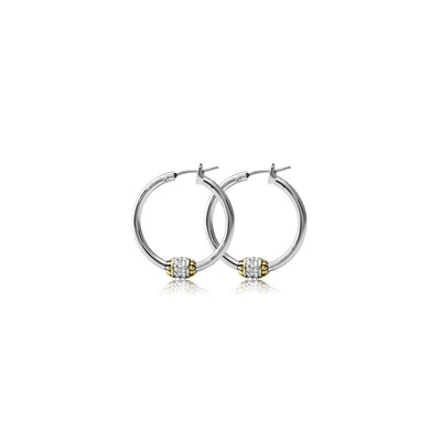 Beaded Pavé Hoop Earrings