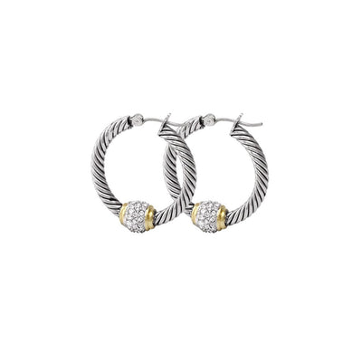 Antiqua Pavé Twisted Wire Hoop Earrings - John Medeiros Jewelry Collections