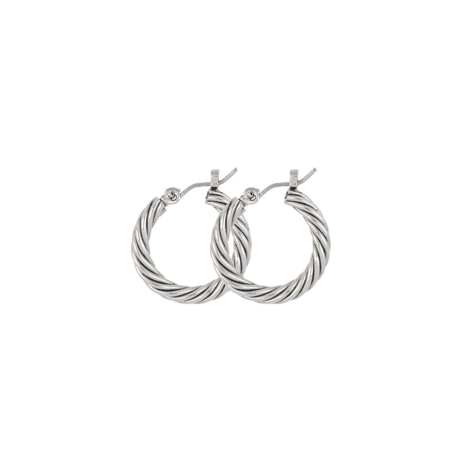 Small Twisted Wire Hoop Earrings - gold