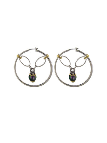 Ocean Images Collection Peacock Seashell Pearl Drop Hoop Earrings