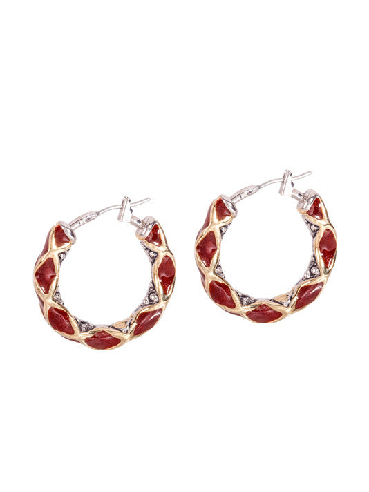 Lattice Collection - Carnelian - Small Hoop Earrings