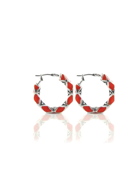 LIMITED Coral Lattice Small Hoop Earrings