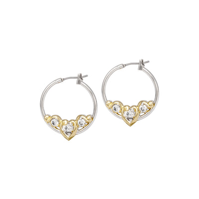 Heart Collection Clear CZ Small Hoop Earrings