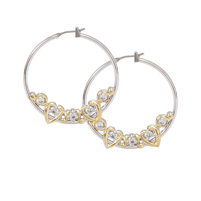 Heart Collection CZ Large Hoop Earrings