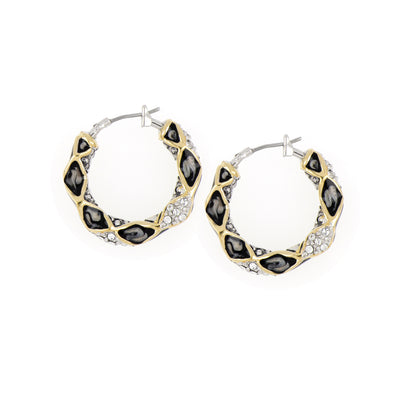 Lattice Collection - Black Abalone Edition - Pavé Small Hoop Earrings