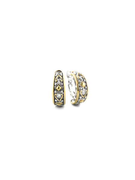 O-Link Collection Filigree CZ Hoop Earrings