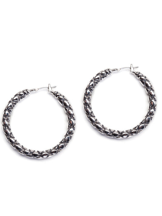 Lattice Collection - Palermo Edition -Large Rhodium Hoop Earrings