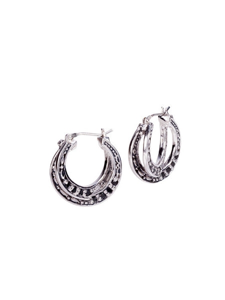 Infinity Collection Black with Pavé Small Hoop Earrings