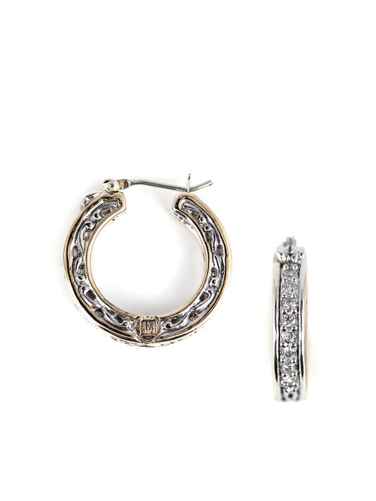 Lattice Collection - Palermo Edition - Two Tone Pavé CZ Small Hoop Earrings