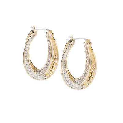 Infinity Collection Pavé Double Oval Hoop Earrings