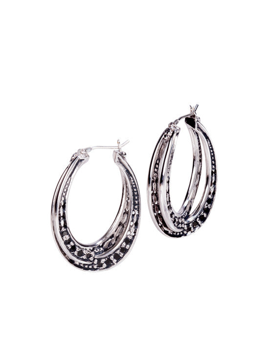 Infinity Collection Black with Pavé Large Hoop Earrings