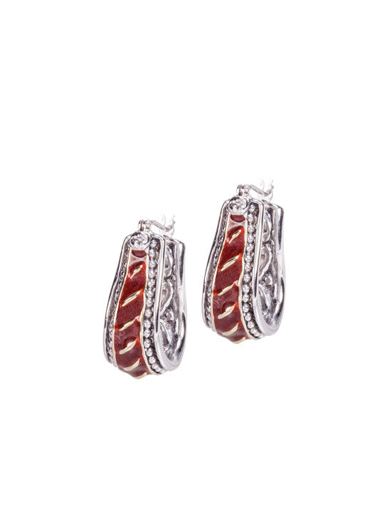 Lattice Collection - Carnelian Horseshoe Style Hoop Earrings
