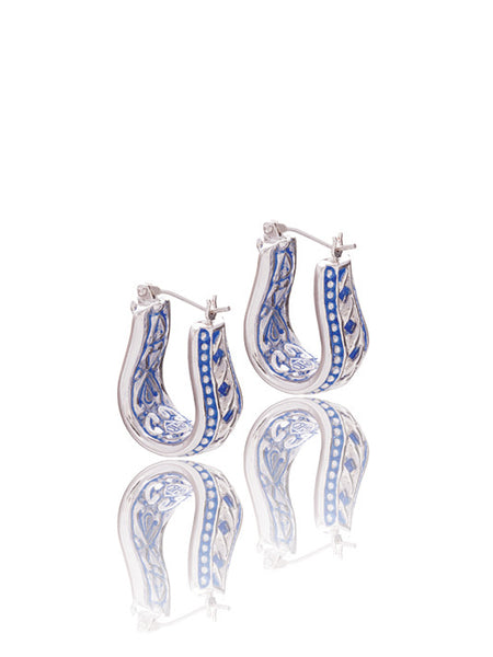 Lattice Collection - Lapis Edition - Horseshoe Style Hoop Earrings