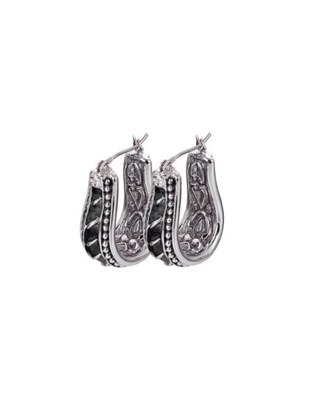 Ocean Images - Black Seas Horseshoe Style Hoop Earrings