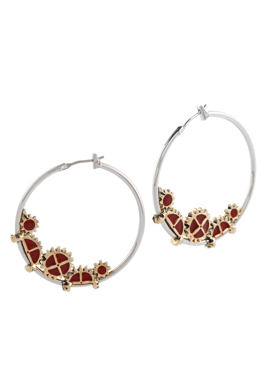 Gears of Time Carnelian Large Hoop Earrings