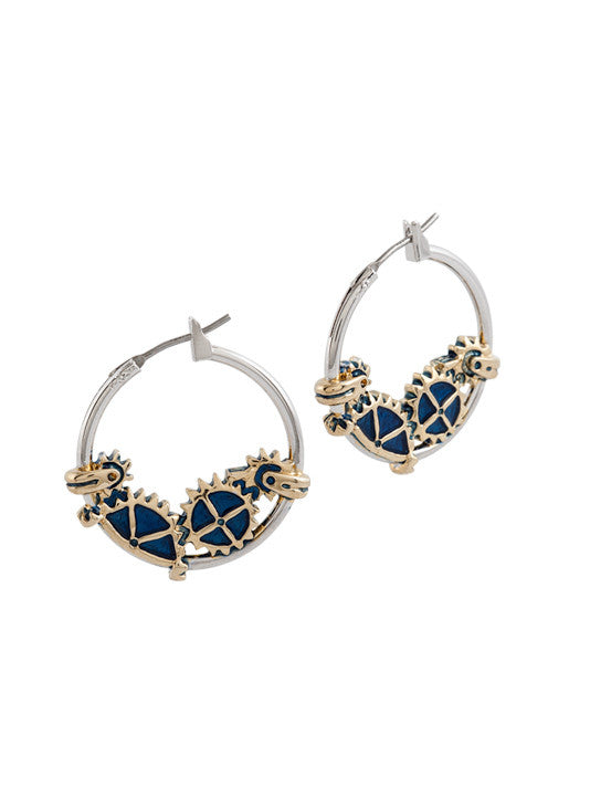 John Medeiros Anvil Collection - Gears of Time Edition - Two Tone Small Hoop Earrings