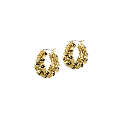 Canias Gold Three Row Hoop Earrings