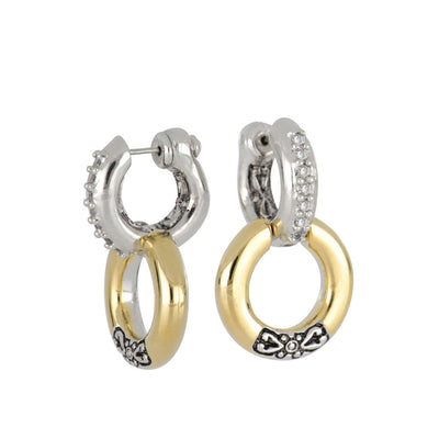 Ciclo D'Amor Pavé Double Hoop Huggie Earrings