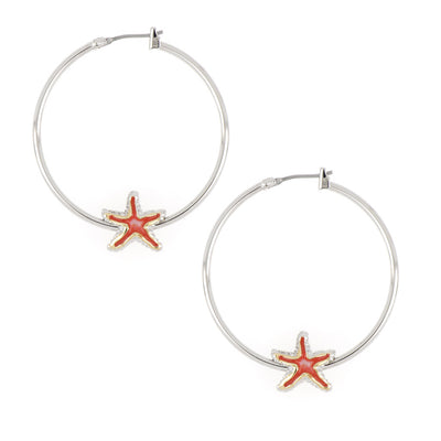 Caraíba Collection Coral Starfish Hoop Earrings