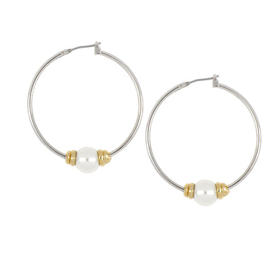 Ocean Images Collection Single Pearl Large Hoop Earrings