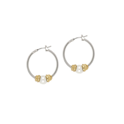Ocean Images Collection Single Pearl Small Hoop Earrings