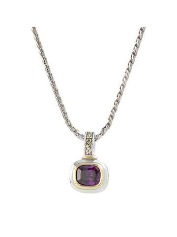 Nouveau Amethyst Slider Charm with Chain