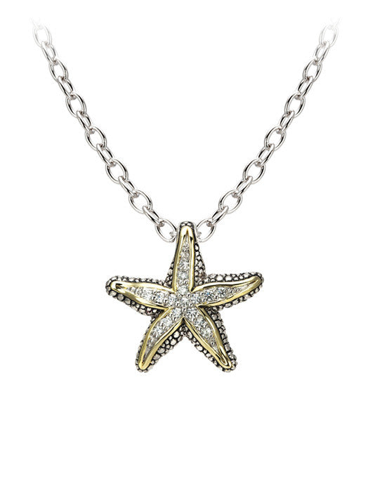 "Seaside Pavé Starfish Slider with Chain. Available with 16"" or 32"" Chains."