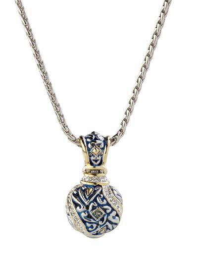 Beaded Indigo Finish Pavé Round Slider with Chain - John Medeiros Jewelry Collections