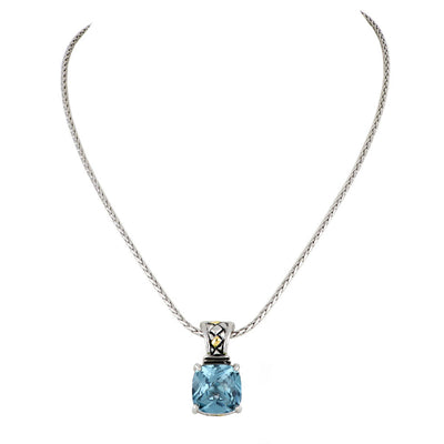 Anvil Square Cut Aqua Enhancer Charm with Chain