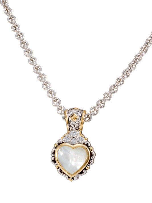 Heart Collection Mother of Pearl Slider with Chain