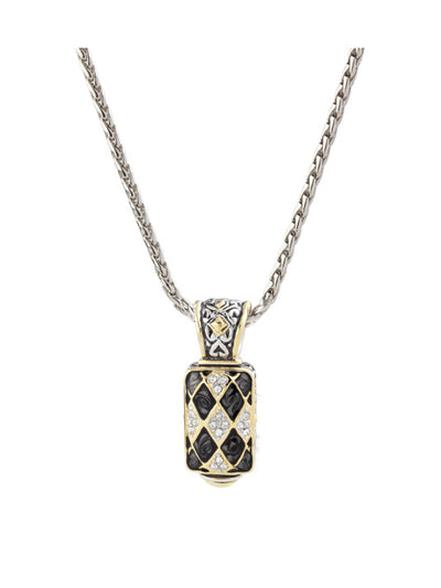 Lattice Collection - Black Abalone Edition - Pavé Enhancer with Chain
