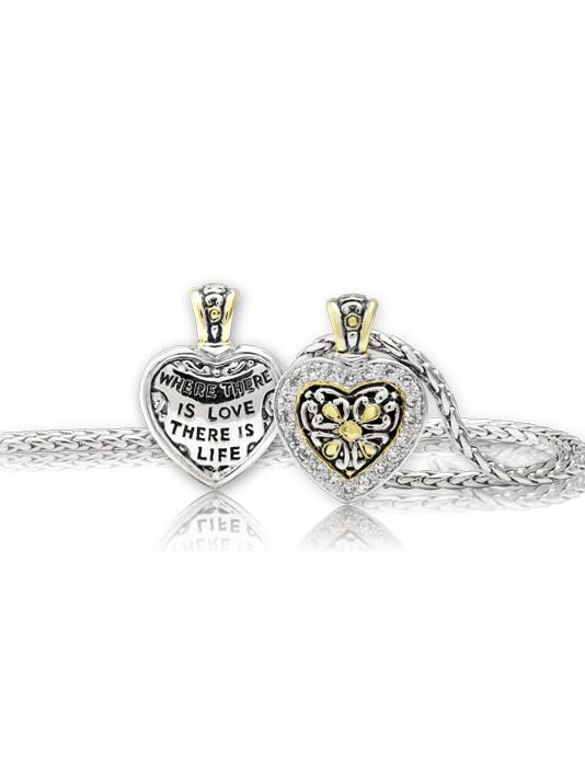 Heart Collection Reversible Pavé CZ Filigree Necklace