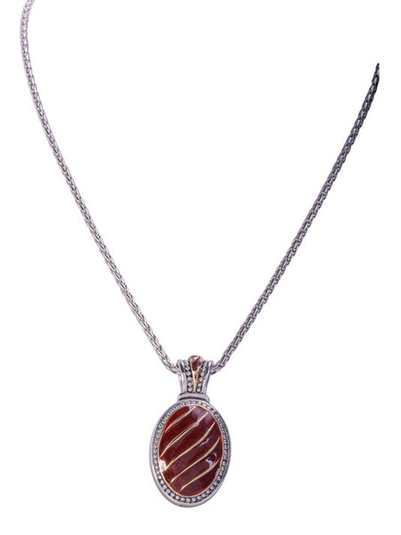 Lattice Collection - Carnelian Royal Enhancer with Chain