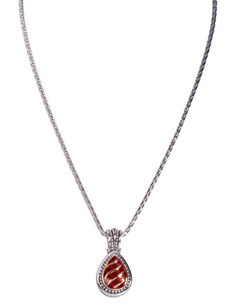Lattice Collection - Carnelian Teardrop Necklace