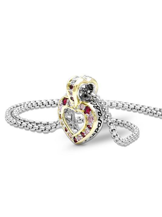 Two Hearts Inseparable Garnet Slider with Chain