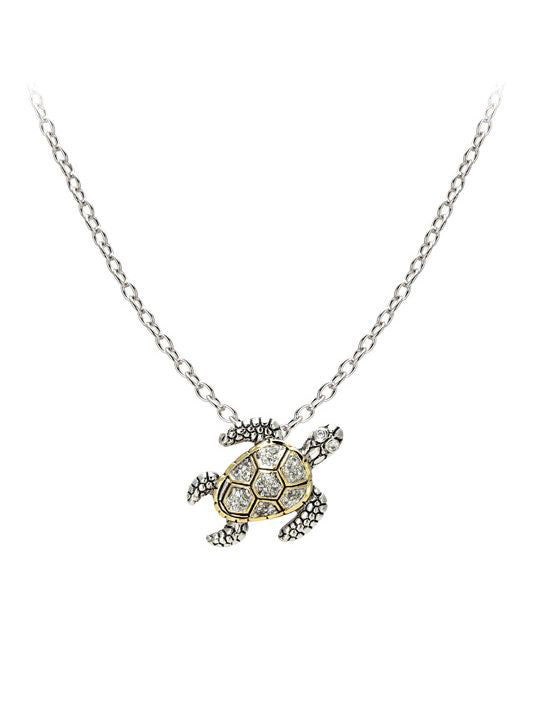 "Seaside Pavé Turtle Slider with Chain. Available with 16"" or 32"" Chains."