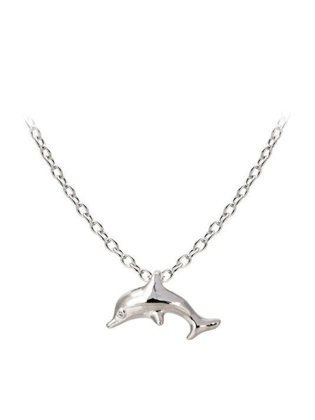 "Seaside Dolphin Slider with Chain. Available with 16"" or 32"" Chains."