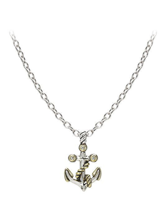 "Seaside Two-Tone Anchor Slider with Chain. Available with 16"" or 32"" Chains."