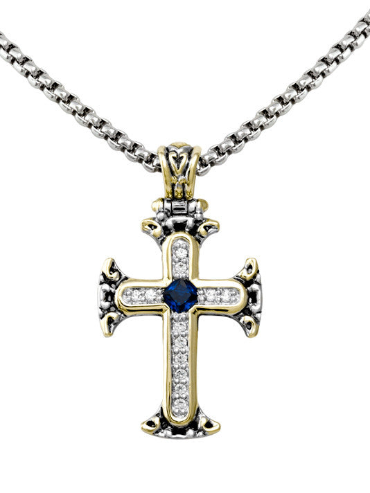 John Medeiros Celebration Collection Pavé & Indigo Cross with Chain