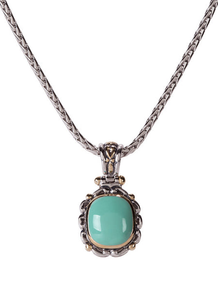 Nouveau Simplicity Turquoise Oval Slider with Chain