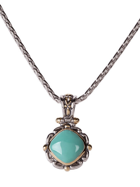 Nouveau Simplicity Turquoise Square Slider with Chain