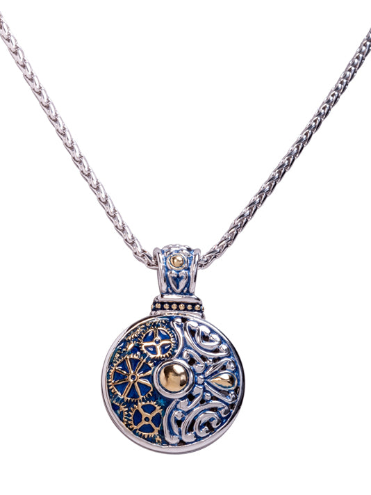 Gears of Time Blue Slider Pendant Necklace