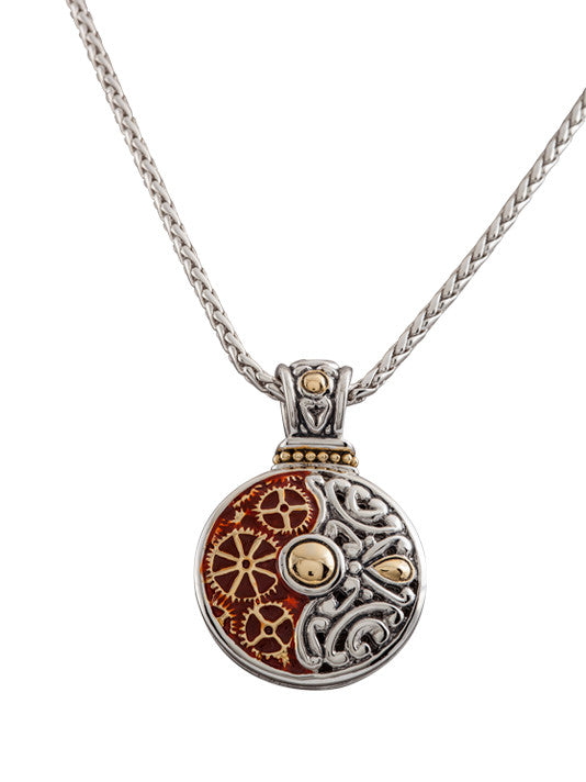 John Medeiros Two Tone Anvil Collection - Gears of Time Edition - Round Pendant with Chain