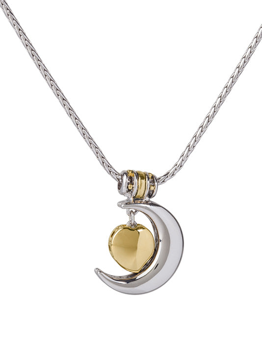 Celebration Birthstone Collection Heart in Moon Necklace - I Love You to the Moon and Back