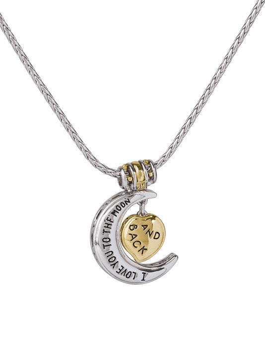 Celebration Collection Heart in Moon Necklace - I Love You to the Moon and Back